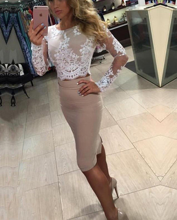 Siaoryne Two Pieces Knee Length Short Prom Party Dresses with Long Sleeves SP639