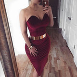 Siaoryne LP017 Short Prom Dress Burgundy Homecoming Dress with Gold Belt