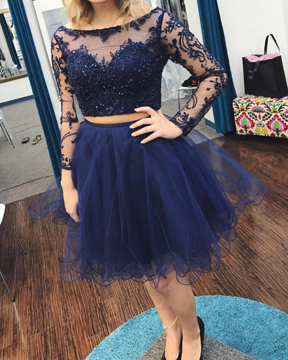 Siaoryne Navy Blue Two Pieces Girls Poofy Lace Short Homecoming Dress with Sleeves SP562