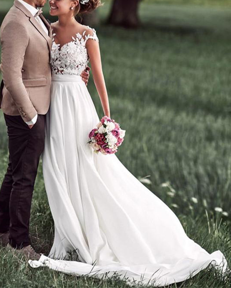Dresses To Wear To A Summer Wedding: Cap Sleeves Lace Summer Chiffon Country Wedding Dress Robe