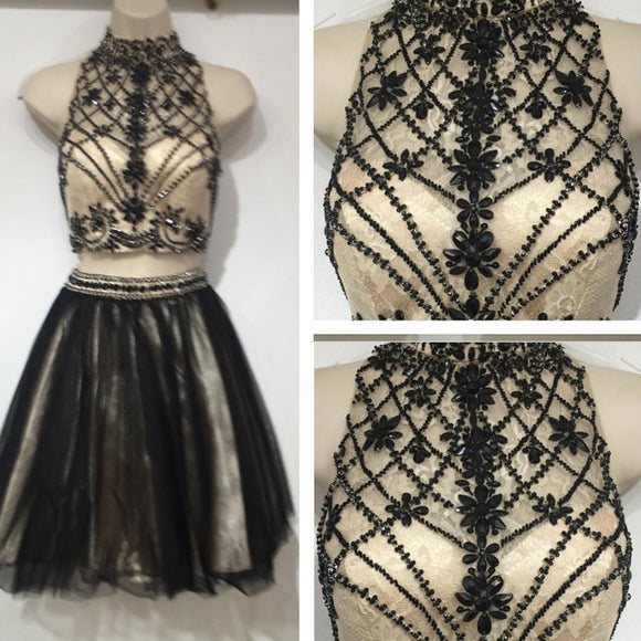 Siaoryne SP019 Short Black and Champagne High Neck Homecoming Dresses with Beading Graduation Dresses