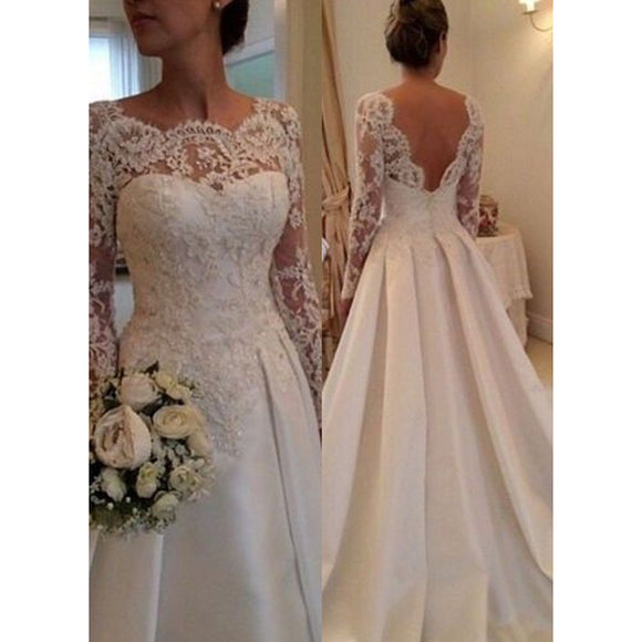 Siaoryne A Line Long Sleeves Wedding Dress Lace 2017 Backless Bridal Dresses for Bride Vestido De Noiva