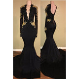 Long Sleeves Mermaid Evening Formal Gown Africa Black Prom Dresses with Gold Lace