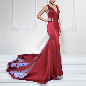 Burgundy Satin Lace Appliqued V Neck Mermaid Prom Dress Women Formal Evening Long Dresses