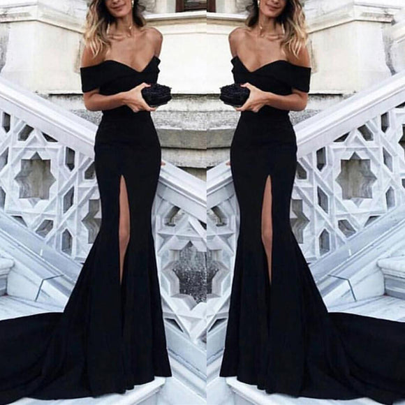 Elegant Black Bridesmaid Dress Long Off the Shoulder Fitted Women Wedding Party Gown LP387