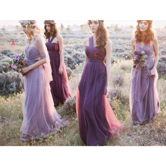 long tulle purple bridesmaid dresses country style maid of honor wedding party gowns for girls
