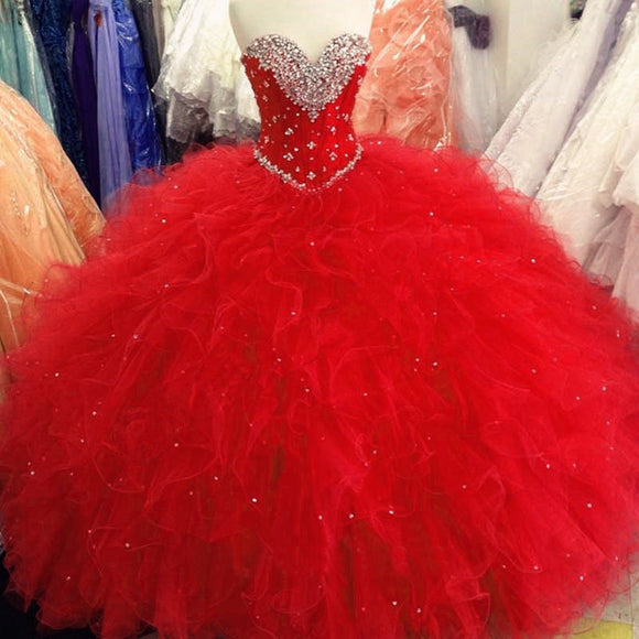 Siaoryne LP0929 Ball Gown Princess Red Quinceanera Dresses Sweetheart Prom Dress with Beading