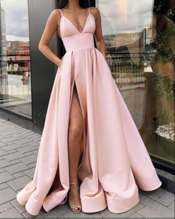 New  Spaghetti Straps Pink Evening Dress Gown Long with Slit PL098