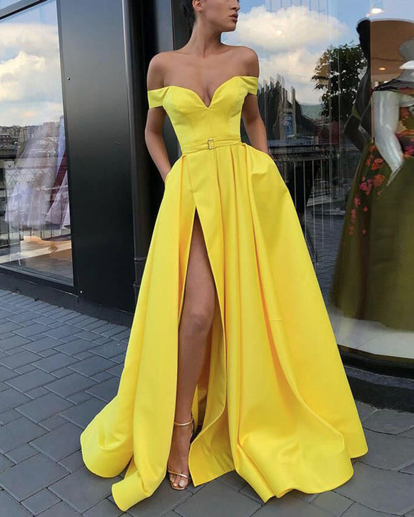 Vibrant Lemon Bright Yellow Off the Shoulder A Line High Slit Prom Dress Evening Long 2020