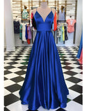 Siaoryne PL5014 Royal Blue Spaghetti Straps A Line Satin Long Prom Long Dress 2020 Gown