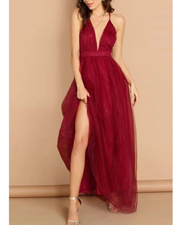 Wine Red Soft Tulle Sexy V Neck Long 2020 Evening Gowns Women Party Dress with Spaghetti Straps LP20170