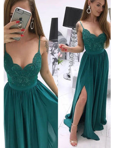 Emerald Green Long Girls Party Dress with Straps Lace Appqued 2020