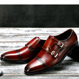 Wine Red/Black Men Shoes Leather