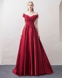 Off Shoulder Wine Red A Line Satin Long Formal Dresses Prom Gown with Lace PL3390