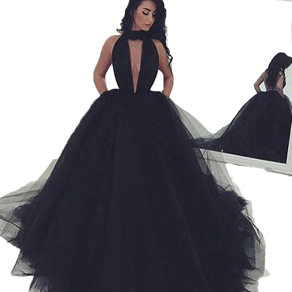 LP632 Black Prom Dress High Neck Poofy Ball Gown Formal Dress ,Backless Evening Dresses Long Party Gowns