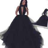 LP632 Black Prom Dress High Neck Puffy Ball Gown Formal Dress ,Backless Evening Dresses Long Party Gowns