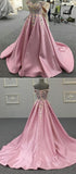 Pink Off Shoulder Satin Handmade Flowers Lace A Line Prom Dresses Wedding Request Gown