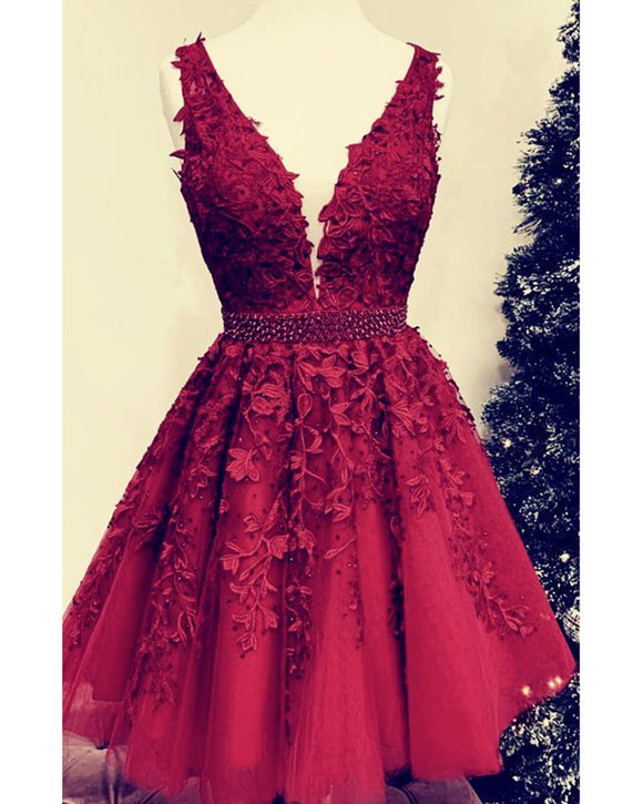 Amazing Junior Homecoming Gown Dark Red Lace Short Prom Dresses 2020 SP2018