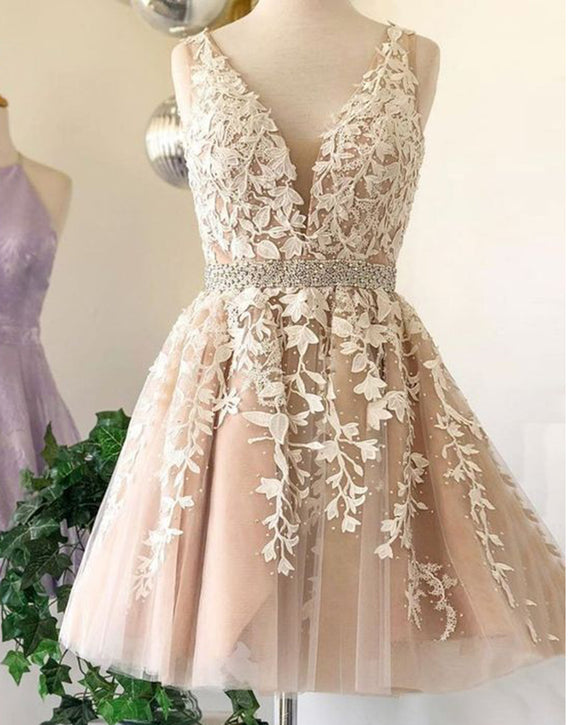 Siaoryne SP1111 V neck Short Lace Prom Dress Girls Junior Homecoming Gowns