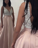 Elegant Pale Pink V Neck Long Women Evening Party Dresses Gala with Beading 2020 PL12301