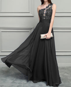 Siaoryne Black /Burgundy /Blue Elegant  One Shoulder Chiffon Lace Nude See Through Long Evening Gown 2020 PL12311