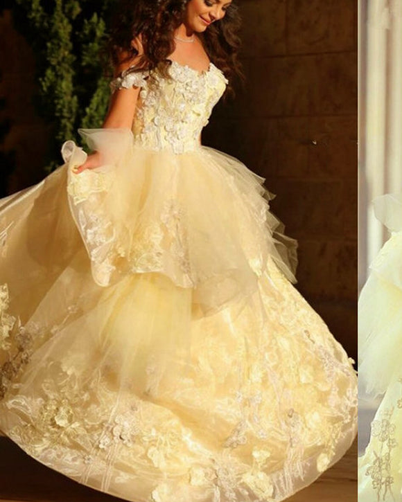 Off Shoulder Lace Yellow Girls Birthday Party Dress Swee 16 Gowns Quinceanera PL0519