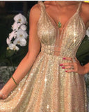 Siaoryne Bling Bling Gold Sequins Long Evening Dress for Women PL2013