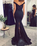 Siaoryne Fitted Women Long Evening Party Gowns ,Off Shoulder Lace Prom Dresses PL8544