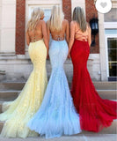 Yellow /Blue/RedHalter Girls Mermaid Prom Dress Lace Graduation Formal Gowns Long  2020PL20141