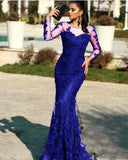 Vintage Burgundy /navy Blue / Black Long Sleeves Lace Mermaid Evening Prom Dresses 2020 Appliques Sweep Train Formal Party Gowns