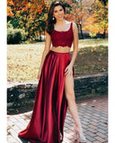 LP1114 Stylish Dark  Crop Top 2 Pieces Red U Neck lace High Slit dress fro Prom Long Evening Formal Gowns