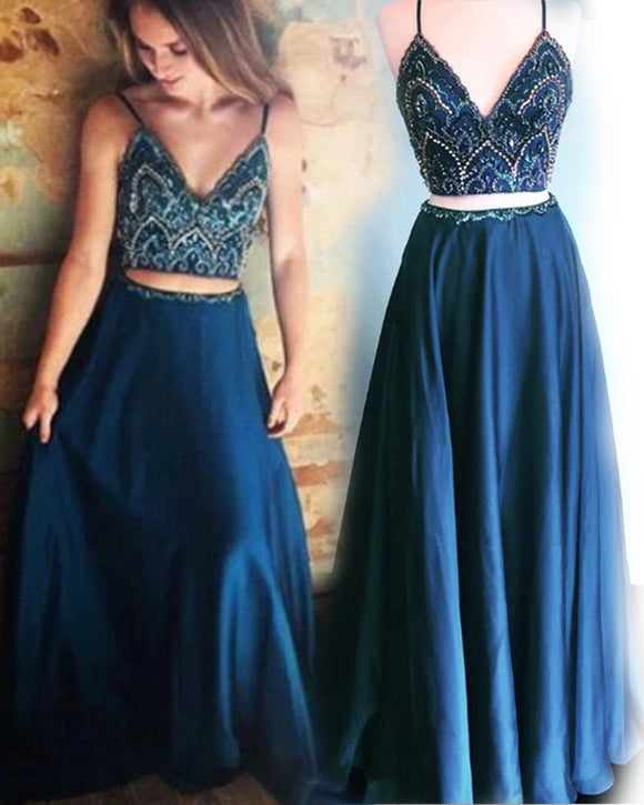 LP1113 Crop Top Spaghetti Straps Navy Blue Evening Prom Dress Long Graduation Gown with Beading Two Pieces Out fit sets