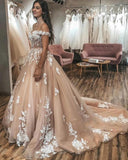 Siaoryne WD1111 Off Shoulder  Gold Wedding Dresses Ball  evening Dress Ivory Lace Bridal Dress 2020