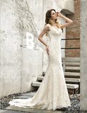 WD0317 Robe De Mariee V Neck Ivory Lace Fitted Mermaid Wedding Gown Bride Dress 2020