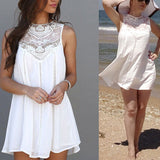 Classy White Sundress Casual Summer/Spring/Autumn Beach Wear Lace Dresses Sleeveless 2020 Vestido