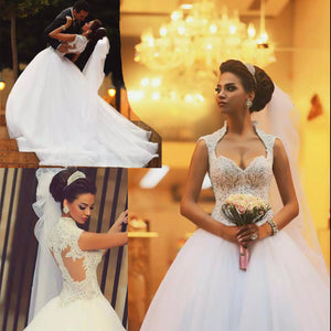 WD3391 Cap Sleeves Sexy Princess Pearl Lace wedding Dress A Line Custom Made High Quality