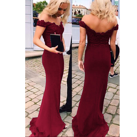 Wine Red Lace Prom Dress Formal Evening Dress Women Long Party Gown LP700