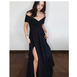 Black Long Prom Dresses Off the Shoulder Slit Women Formal Wear
