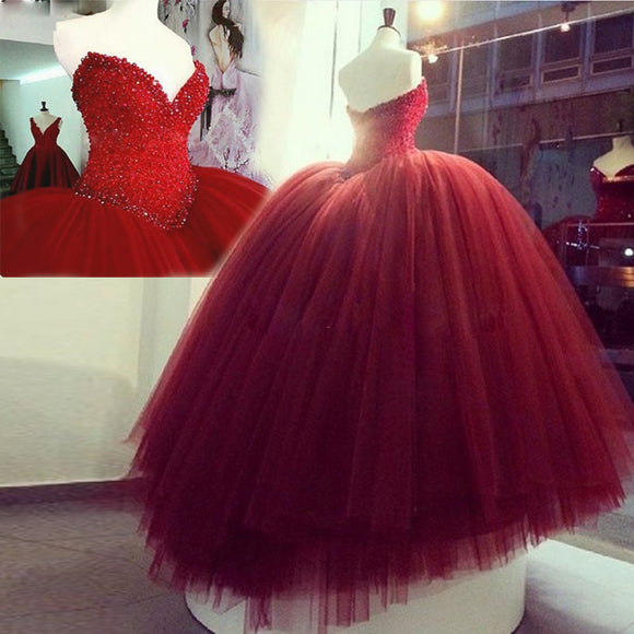 WD5508 Sweetheart Red/Wine Ball Gown Wedding Dresses Luxury Princess Formal Prom Gown 2018 Quinceanera Dress