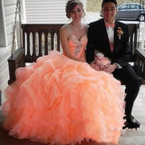 Siaoryne Lp0926 Ball Gown Puffy Organza Coral Quinceanera Dresses prom gown with beading sleeves