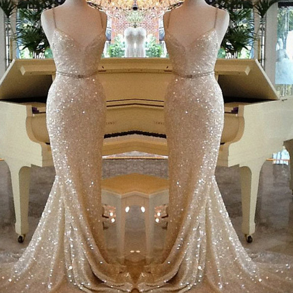 LP9986 Bling Bling Spaghetti Straps Champagne Prom Dress Long Sequins Evening Party Gown  2018
