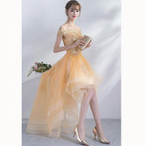 Dreamy Yellow Lace short Sleeves High Low Prom Dresses Girls Graduation Gown with