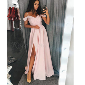 Off Shoulder A Line Prom Dresses Cheap Long Party Custom Made Gown LP874