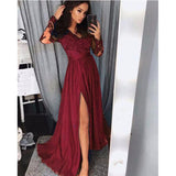 2020 Long Sleeves Lace Applique Lace Long Prom Dresses Women Evening Party Gown LP821