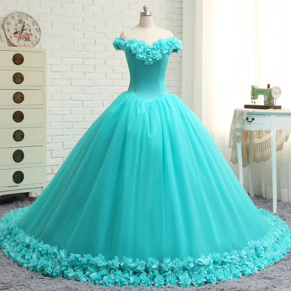 Hand made 3D Flowers Light Blue Wedding Dress Princess Ball Gown Off the Shoulder Quinceanera Dress Debutante Gown WD7703