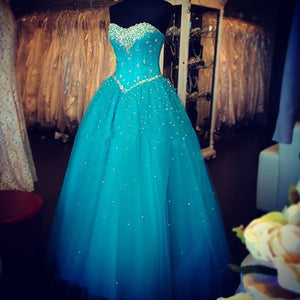 Siaoryne LP0928 Blue Prom Dresses Crystal Corset Sweetheart Formal party Gowns for Girls Sweet Sixteen Dress
