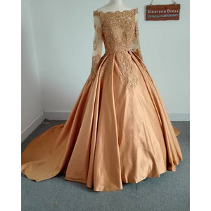 Off Shoulder Gold Lace Ball Gown Long Sleeves Prom Dress Formal Wear