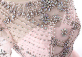2020 New Pink Long Prom Dress for Girls Party Gown with Crystal Short Sleeves