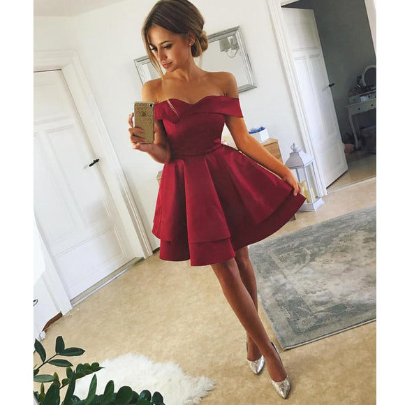 Wine Red Short Homecoming Dresses A Line Off the Shoulder Junior Graduation Prom Dress for 8th Grade