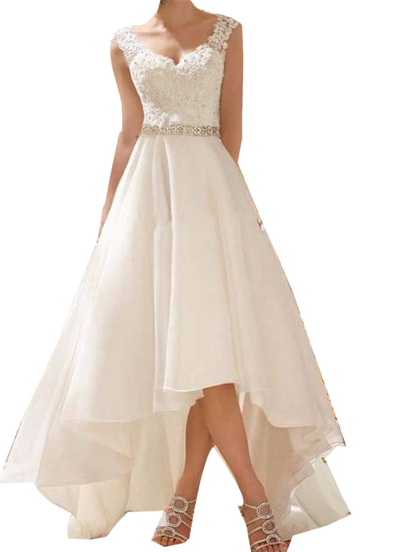New arrive high Low Lace Beading Beach Wedding Dress Front short Long Back organza Bridal Gown